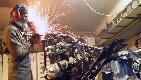 grinding on a cafe racer frame